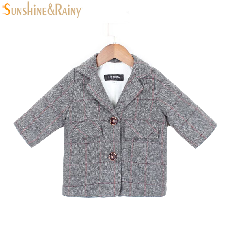 England Style Fashion Kids Jacket For Girls Suit Plaid Cotton Children Outerwear Coats For Girl Boy Winter Jacket Baby Clothes