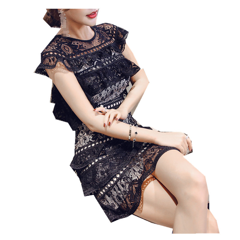 Womens Summer Dresses New Arrival 2018 Elegant Black Lace Hollow Out  Ruffles Lady Mini party Layered cd8e18940d15