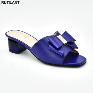 Image 1 - Chaussures de mariage africaines, chaussures de grande taille, décorée avec strass, chaussures de soirée nigériane pour femmes, nouvelle collection sans lacet
