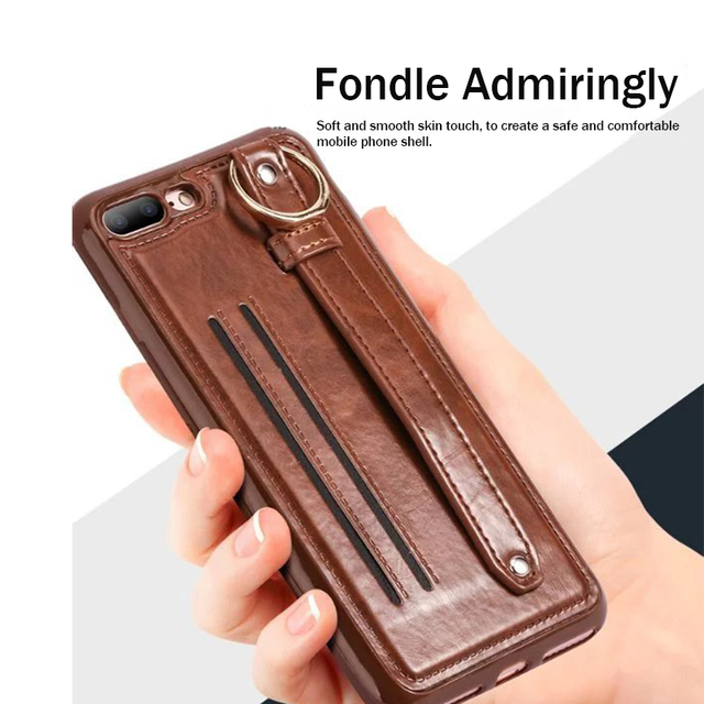 new style ad461 9f40e US $5.49 |Coque For iPhone 8 Case iPhone 7 Cover With Card Slot Leather  Hand Strap Stand Phone Case For iPhone 7 8 Case Ring Holder Shell-in Fitted  ...