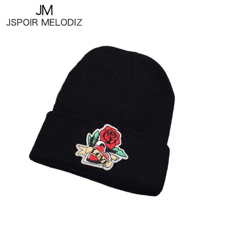Rose Embroidery Beanie Women's Hat Men Autumn Winter Skullies Knitted Hat Casual Hip Hop Caps Girl Gorros Boy Bone Bonnet Z30 new fashion women autumn hat caps for girl rivet knit beanie skullies colors men casual hip hop hats adult winter bonnet shop