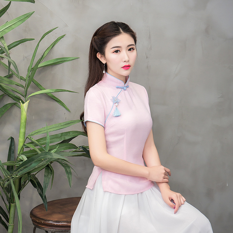 Light Temperamento rosado Tang Madre Tradicional Camisa Novia M Elegante Tamaño Mandarín verde Manga Chino xxl Blusa Blue Top Collar Verano Corta P Uzw1dqU