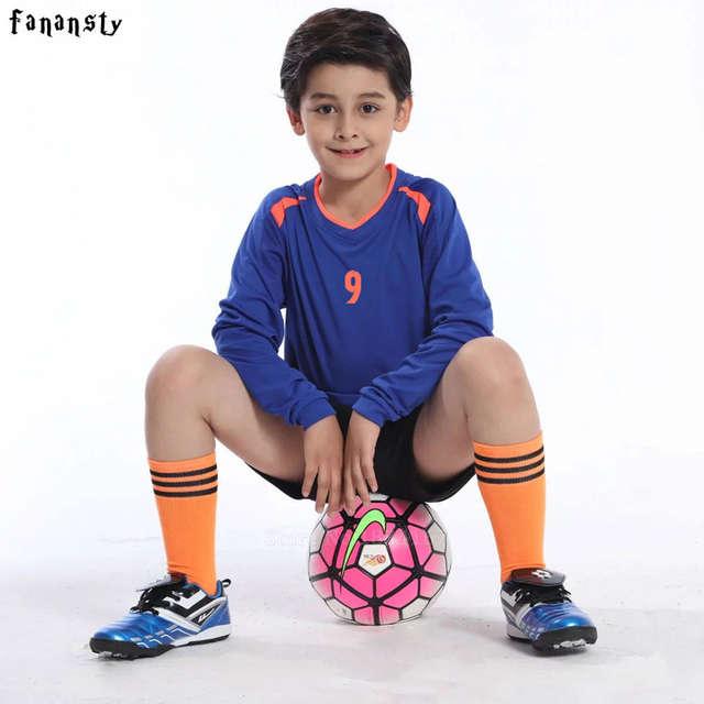 Football jerseys Kids Long Sleeve Soccer Sets Training Suits Sports  Football Kits Boys Custom Jerseys Child. placeholder ... 581ff2b74