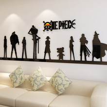 Cartoon anime One Piece 3d Wall Sticker Acrylic Living room sofa background wall Decorations bedroom dormitory bedroom stickers