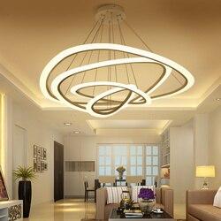 جديد الحديثة قلادة أضواء لغرفة المعيشة غرفة الطعام 4/3/2/1 دائرة خواتم الاكريليك LED مصباح لإنارة السقف تركيبات