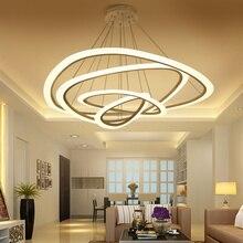 אורות תליון לחדר אוכל סלון המודרני החדש 4/3/2/1 טבעות מעגל אקריליק LED גופי מנורת תקרת תאורה