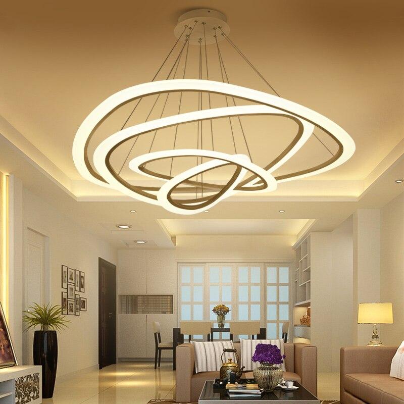 Nouveau Moderne pendentif lumières pour salon salle à manger 4/3/2/1 Cercle Anneaux acrylique LED éclairage de plafond Lampe appareils