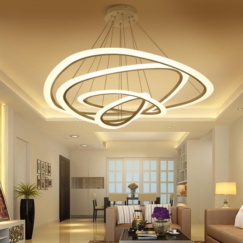 Novas Modernas luzes do pendente para sala de estar sala de jantar 4/3/2/1 Círculo Anéis de acrílico LEVOU dispositivos elétricos Da Lâmpada de iluminação do teto