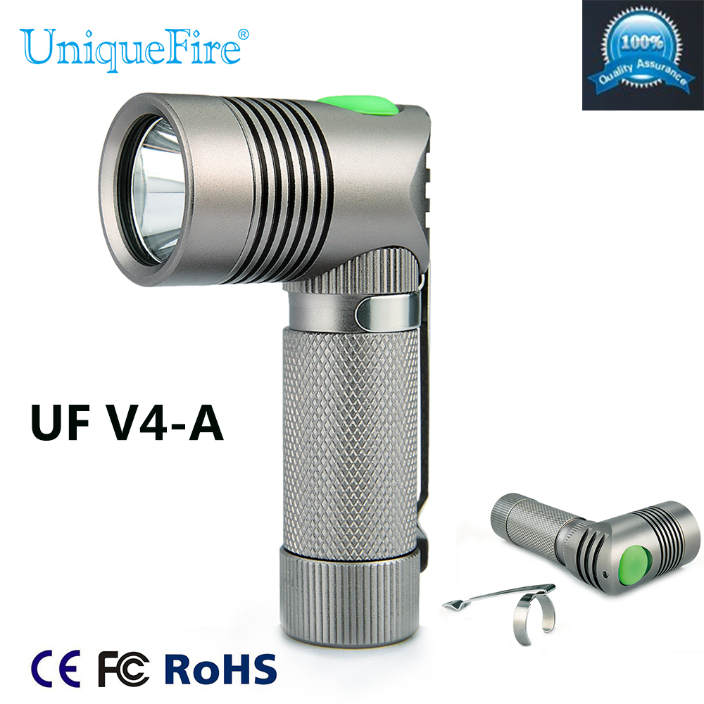 UniqueFire Design Mini V4-A XP-G Led Right Angle Torch Flashlight White Light 1 Mode Light For 14500 Or AA Battery For Camping uniquefire g10 6 mode 350 lumen white led flashlight w strap 1 aa