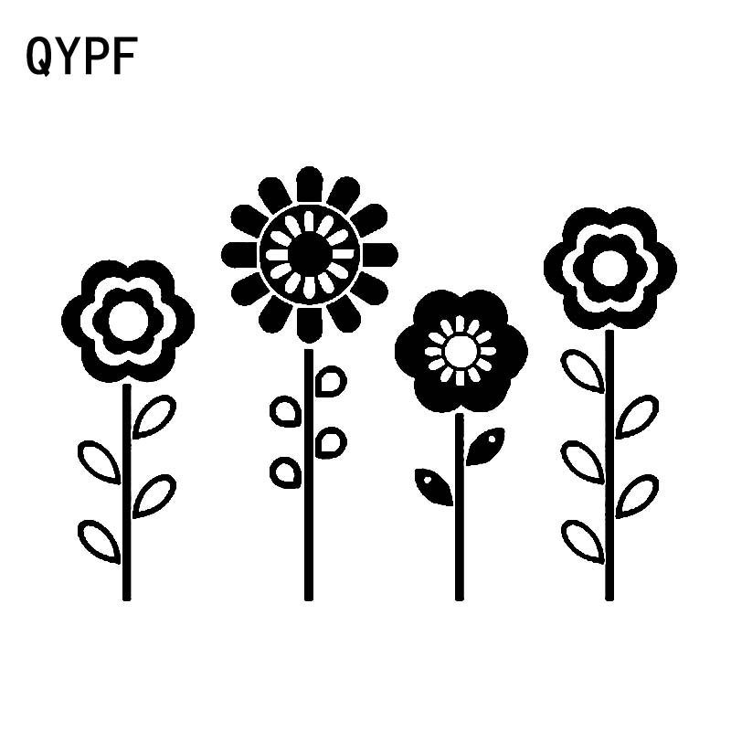 QYPF 16.8cm*11.9cm Four Monotony And Innocence Flowers Unparalleled Vinyl Car Sticker Variety Shaped Pattern C18-0566