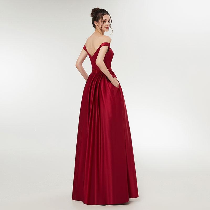 Elegant 2018 Enkel Vin Rød Aften Kjole Damer Formel Lange Kvinder - Særlige occasion kjoler - Foto 3