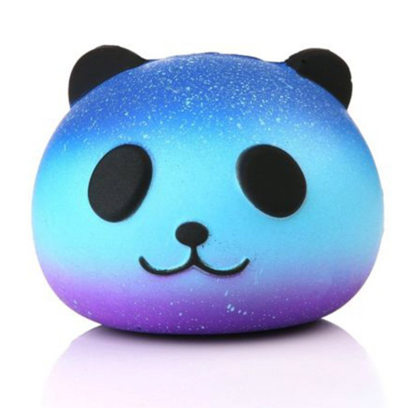 2019 Creative Elastic Soft PU Squishy Slow Rising Anti-stress Kawaii Panda Head Squeeze Toys For Children Charm Lanyard Strap