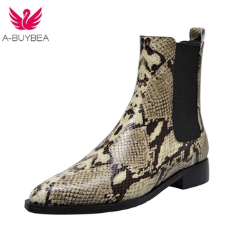 Snake Skin Cow Leather Short Boots Pointy Toe Runway Style Ankle Boots For Women Low Heel Knight Boot Women Chelsea Boots