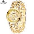 LIANDU Роскошные Женские Часы Известная Марка Мода Дизайн Золотой Браслет Часы Дамы Часы Наручные Часы Relógio Femininos
