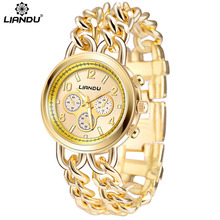 Gold Top Luxury Brand Casual Dress Ladies Watch Women Watches Steel Chain Fashion LIANDU Girl Clock Quartz-watch montre femme стоимость