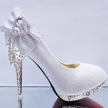 Thin Heels With Round Crystal Bridal Shoes