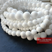 Free shipping Natural Stone White porcelain Beads 16 Strand 4 6 8 10 12mm Pick Size