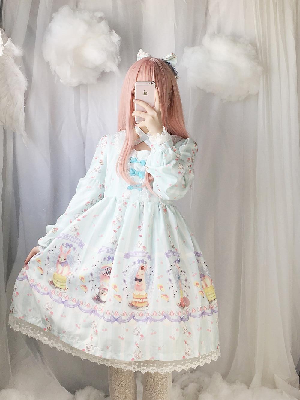 Cute Dessert Rabbit Buny OP Lolita Women Dress Fairy Kei Print Long Sleeve Cross Tie Lace Trim Bows Fancy Dolly Dress 3Color