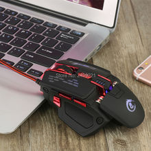 High Quality New 4000DPI Optics 7 Buttons USB Wired Game Mouse For Compute / Laptop / Tablet 4 LED Light Flash Gaming Mouse