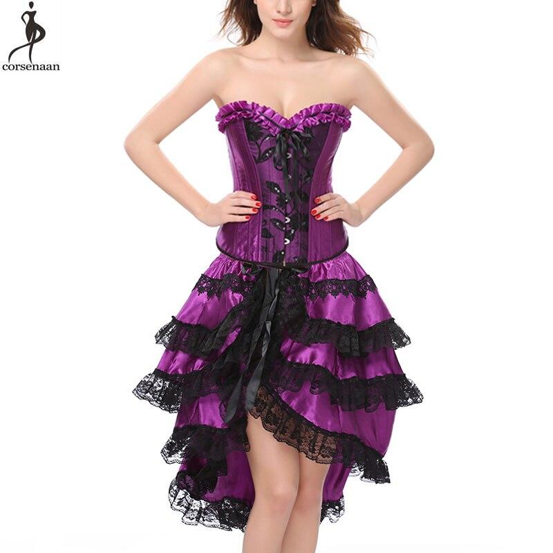 Wholesale   Corset   Dress Women Summer Clubwear Sexy   Bustier   burlesque   Corset   Top And Skirt victorian fashion Plus Size 6XL Korsett