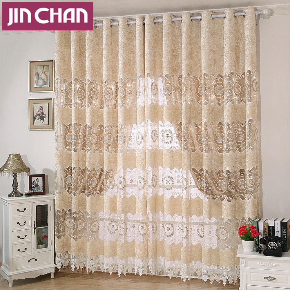 Hollowed Out European Fabric Polyester Window Shade Curtains For The Bedroom Luxury Living Room D Finished In From Home Garden On
