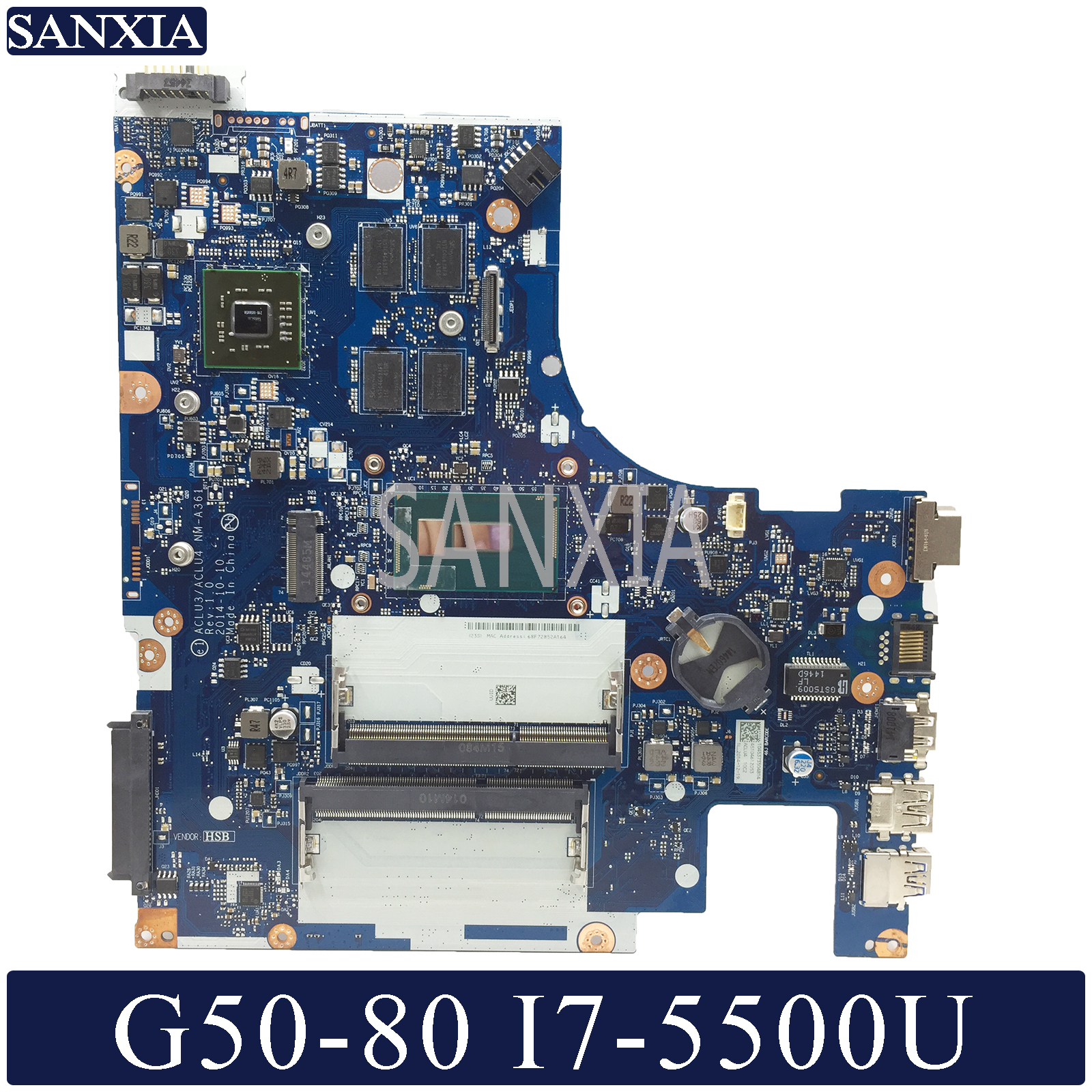 KEFU <font><b>NM</b></font>-<font><b>A361</b></font> Laptop Motherboard for Lenovo G50-80 original mainboard I7-5500U R5-Video image