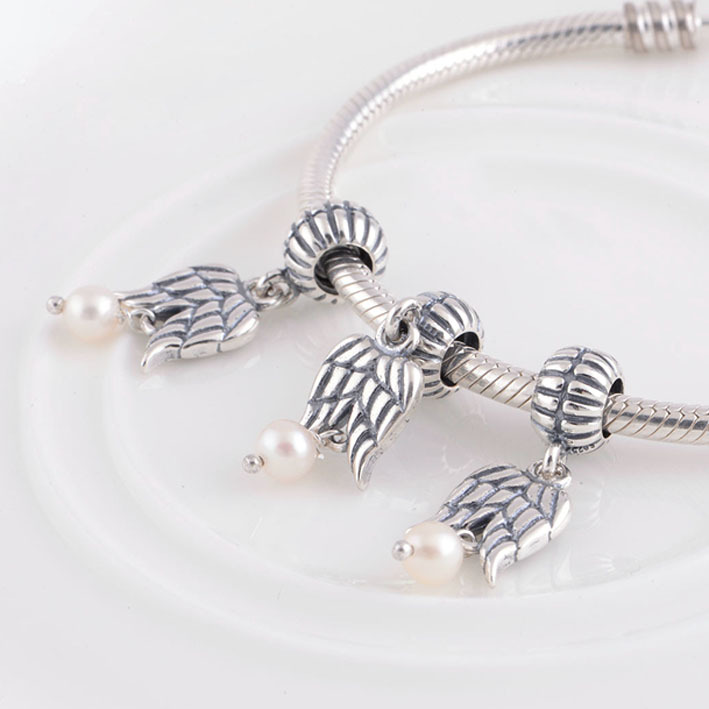 a7f04064c Fit Pandora Charms Bracelet 925 Sterling Silver Angel Wing Charm with Pearl  Pendant DIY for Fashion Women Jewelry-in Beads from Jewelry & Accessories  on ...