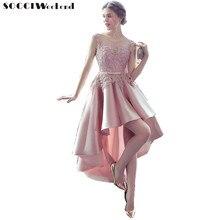 Платье выпускного вечера SOCCI Weekend Элегантное платье 2018 Розовые кружевные атласные платья для новобрачных с высокими низкими формальными свадебными платьями Robe de