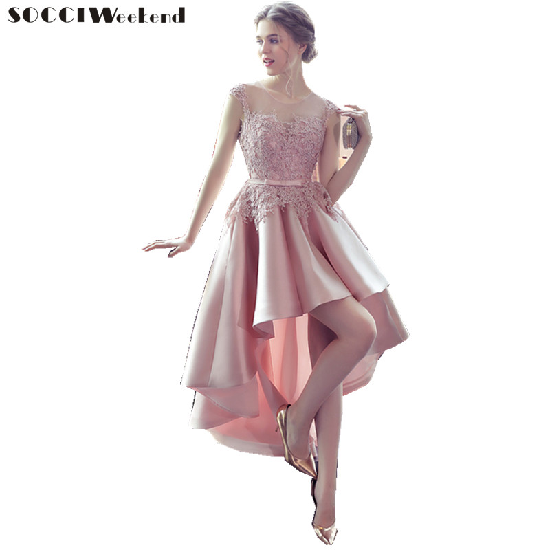 SOCCI Weekend Elegant Prom Dress 2019 Pink Lace Satin Women Bridal Gowns High Low Formal Wedding Party Dresses Robe de