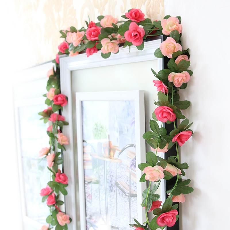 2 5m fake silk roses ivy vine with green leaves hanging artificial flowers garland for wedding. Black Bedroom Furniture Sets. Home Design Ideas
