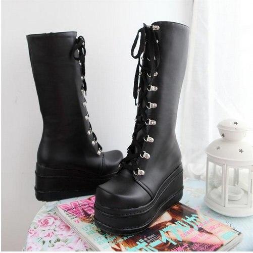 KarinLuna/Большие размеры 31-49; модные ботинки для костюмированной вечеринки в стиле панк; женская обувь; зимняя обувь на танкетке; женские сапоги до колена на высоком каблуке - Цвет: Черный