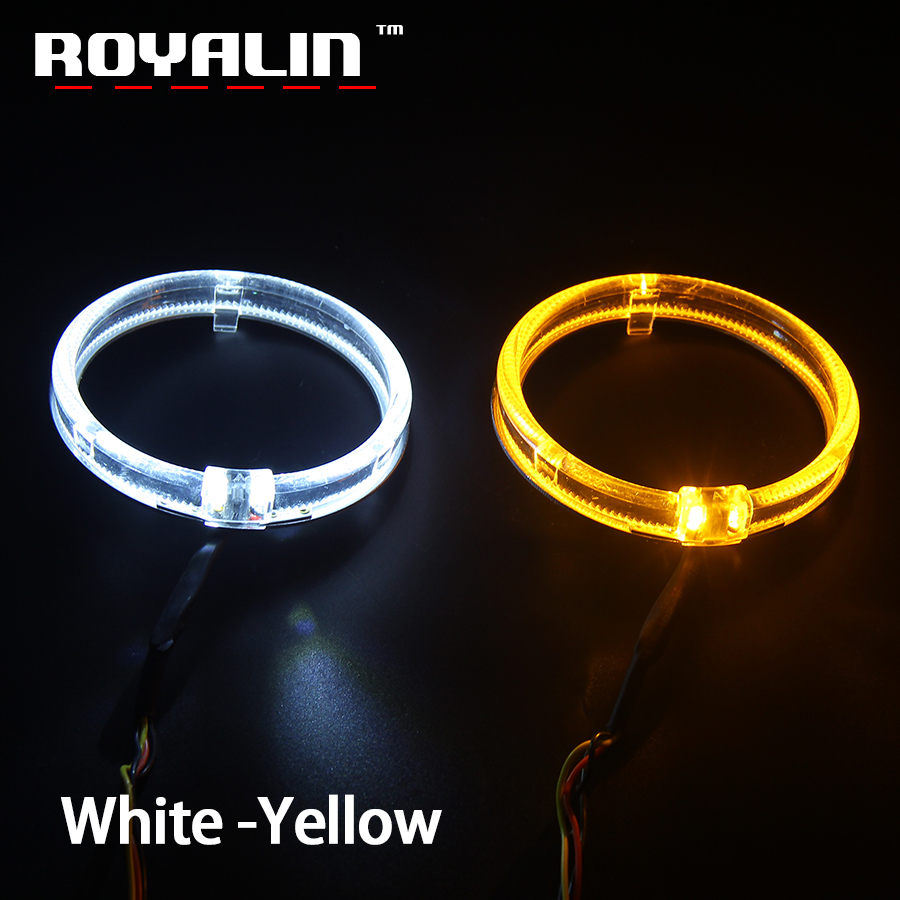 ROYALIN LED Angel Eyes White Yellow Amber Daytime Running Light 80mm 95mm Halo Rings DRL Switch Back Turn Signal Light Car Lamps
