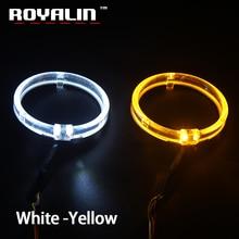 Royalin ledエンジェル目ホワイトイエローアンバーデイタイムランニングライト 80 ミリメートル 95 ミリメートルhaloリングdrlスイッチバックターン信号光カーランプ