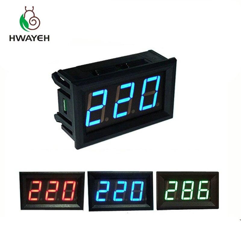 Цифровой вольтметр, светодиодный измеритель напряжения, переменный ток 70-500 В, 0,56 дюйма, 2 провода, красный, зеленый, синий дисплей, 110 В, 220 В, «...