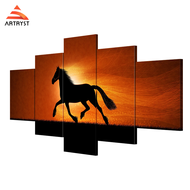 Artryst Horse under Sunset Modern Picture on Canvas Printing House Wall Decoration framed painting ready to hang LC002