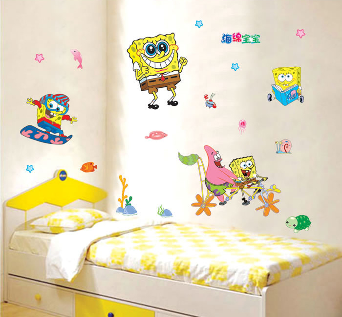 SpongeBob SquarePants Removable Wall Stickers Boys Decal Art Mural Kids  Decor(China (Mainland)