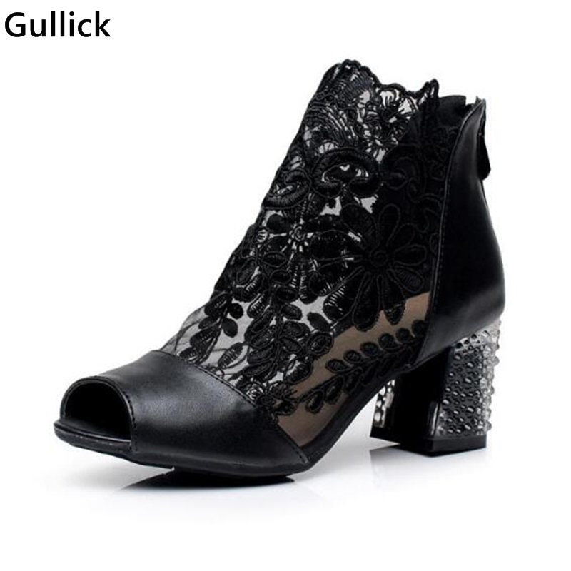 New Arrival 2018 Spring Lace Mesh Short Boots Square Heel Peep Toe Sexy Boots Crystal Designed Women Short Boots Cheap Price 2018 new arrival brand summer boots pu square heel women boots mid calf zipper fashion hollow peep toe elegant crystal shoes l61