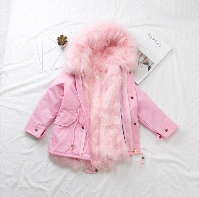 8fa868d82881 Girls Winter Coat Faux Fox Fur Liner Jackets Toddlers Children s ...