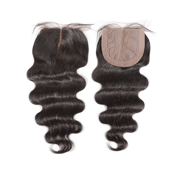 Halo Hair Brazilian Silk Base Closure Body Wave 100% Remy Human Hair Closure Middle Part Bleached Knots With Baby Hair