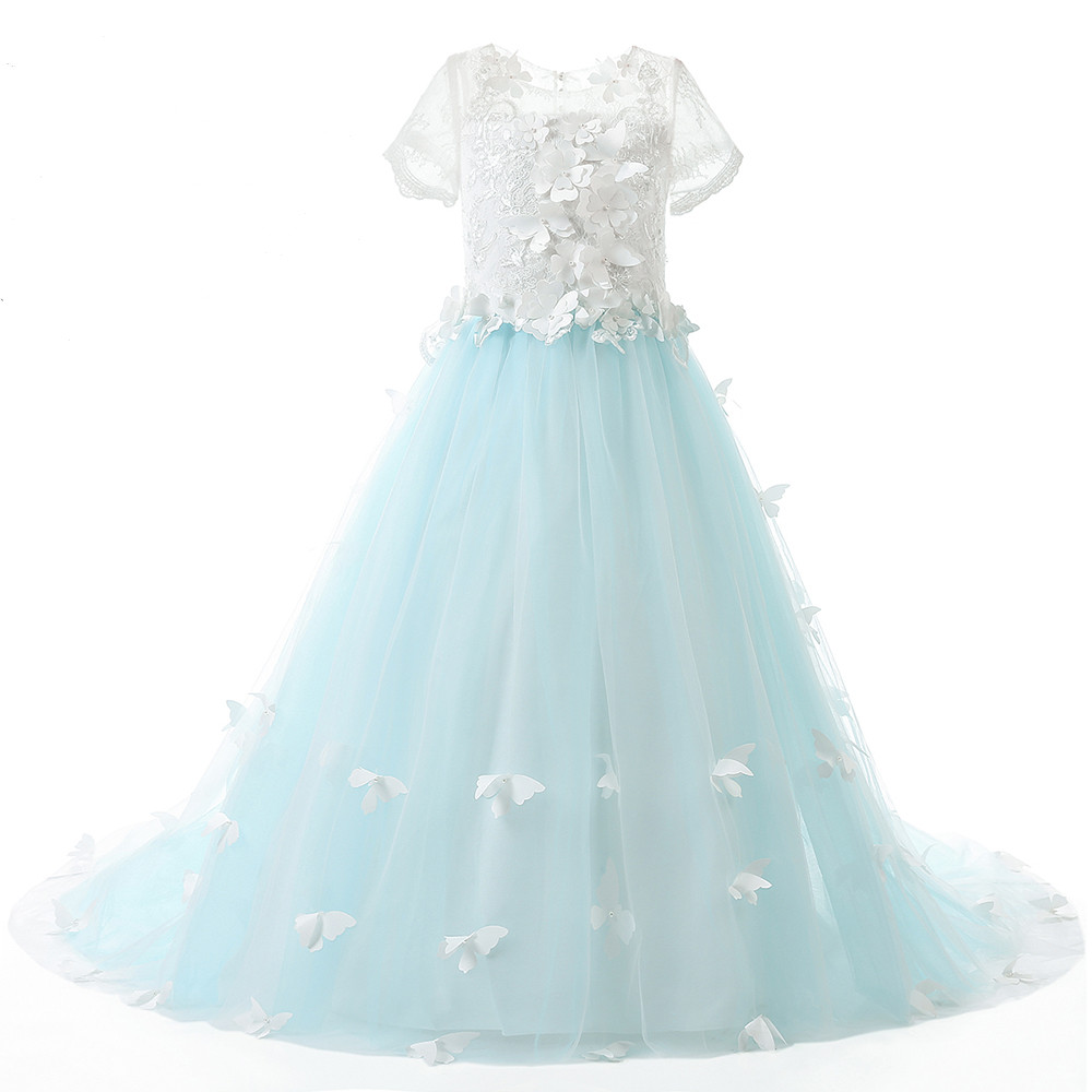 Actual Picture Lace Short Sleeves Ball Gown Flower Girls Dresses Butterfly Kids Pageant Gowns Little Girl Birthday Party Dresses