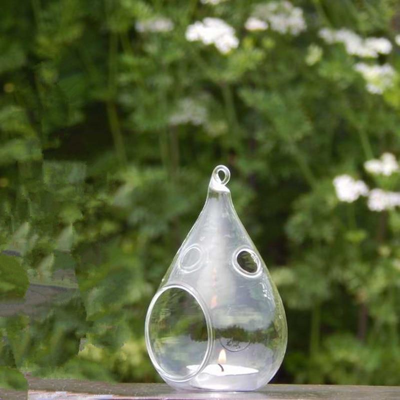 Диаметр = 7 см 8 см маленькая упаковка ручной работы прозрачный стеклянный подсвечник Свадебные украшения реквизит 2 небольших отверстия подсвечник