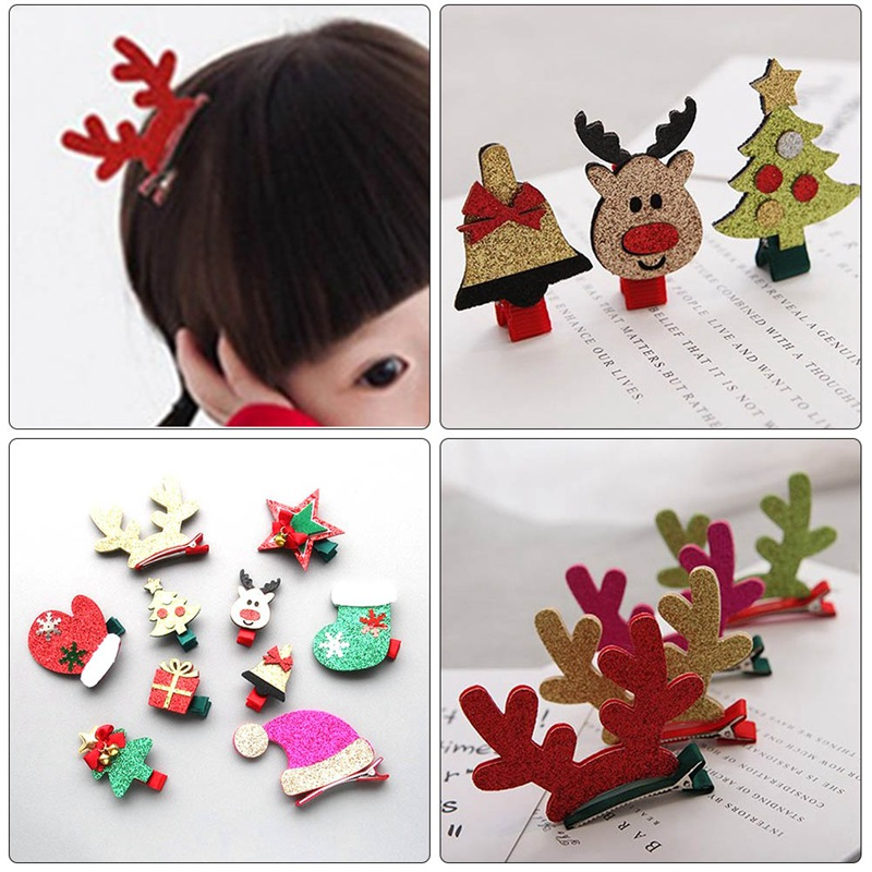 2018 Merry Christmas Party Gifts Woolen Elk Tree Hair Clips For Girls Snowman Hairpins Flower Crown Hair Bows Cute Kids
