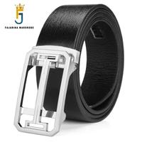 FAJARINA Quality Men S Pure Cowhide Genuine Leather Belt Automatic Hollow Buckle Alloy Black Mens Formal