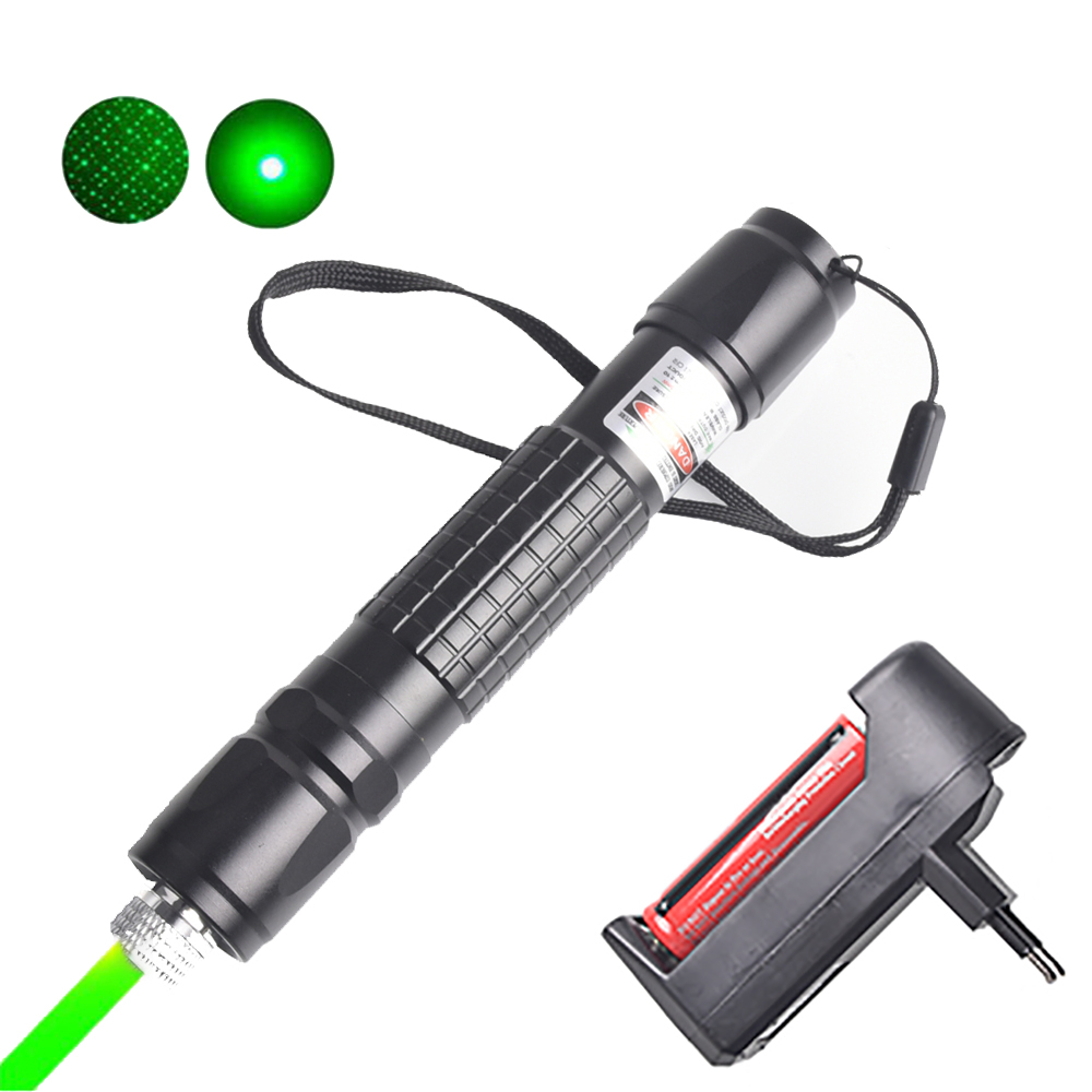 Green Laser Pointer Powerful Laser Pen High Power 532nm 5mW Adjustable Burning Match Lazer With Rechargeable 18650 Battery