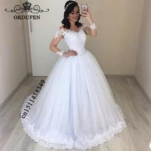 OKOUFEN Vintage Wedding Dress For Women Sheer Long Sleeves