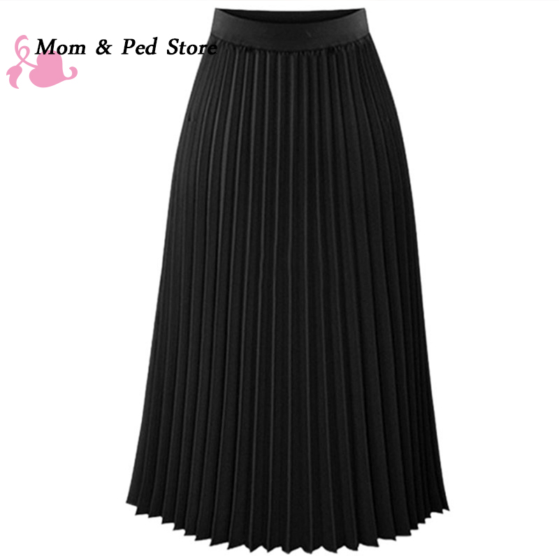 2017 Spring All-match Chiffon Skirt Waist Fold Slim Skirt Pleated Skirt Department Summer Slim Skirt