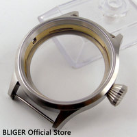 43mm bliger 스테인레스 스틸 사파이어 시계 케이스 eta 6497 6498 무브먼트 남자 시계 케이스 ok3a