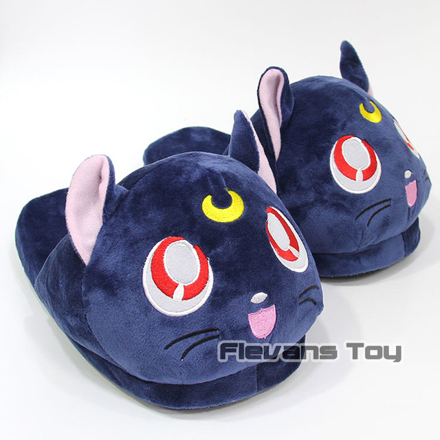 264c0967ca5 Anime Cartoon Sailor Moon Black Cat Luna Plush Slippers Shoes Home House  Winter Slippers Plush Toys