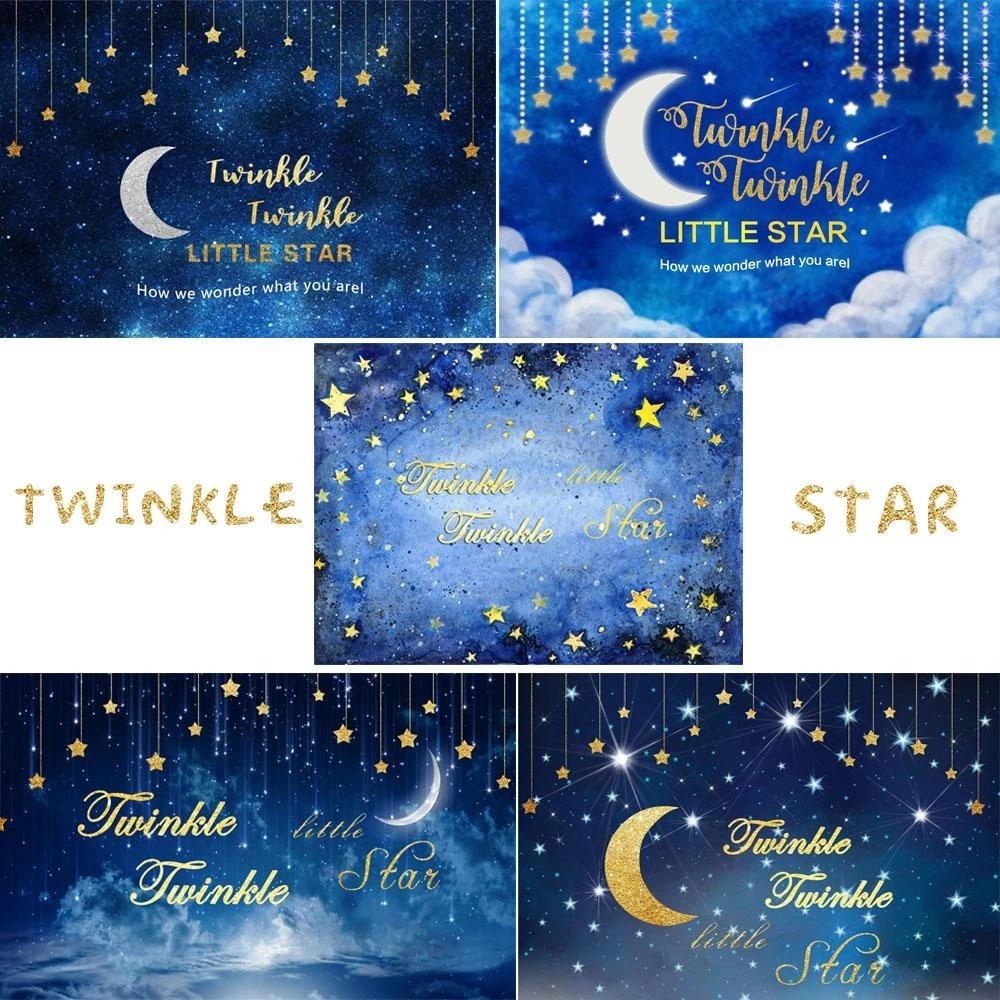 birthday party photography background boys twinkle little star little prince blue night sky newborn children photophone backdrop