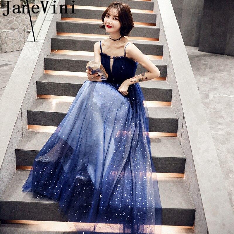 JaneVini Shiny Stars Glitter Prom Dress for Women Deep Blue Strapless Tulle Elegant Arab Evening Formal